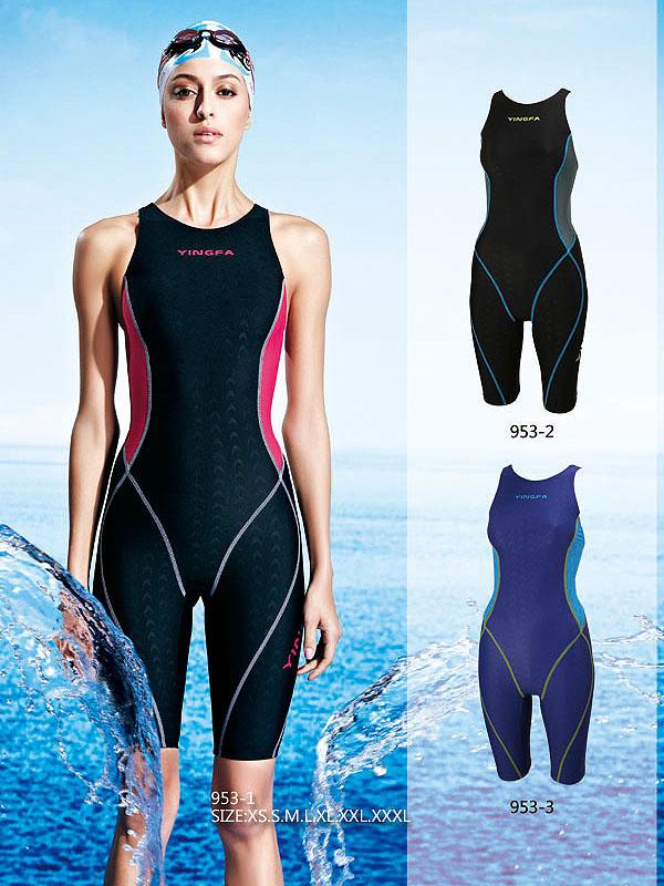 3b9beaecf7860 YINGFA swimsuit for girls women competition kneeskin one-piece swimwear Y- 953